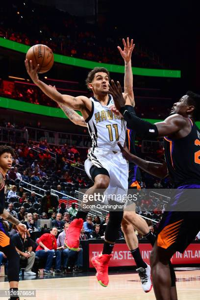 Trae Young of the Atlanta Hawks shoots the ball against the Phoenix Suns on February 23 2019 at State Farm Arena in Atlanta Georgia NOTE TO USER User...