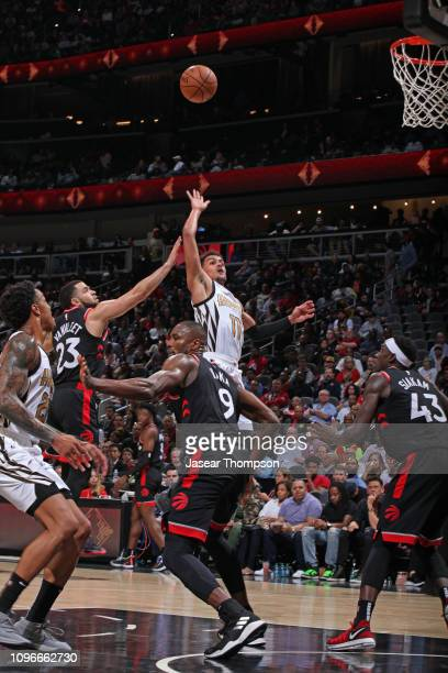 Trae Young of the Atlanta Hawks shoots the ball against the Toronto Raptors on February 7 2019 at State Farm Arena in Atlanta Georgia NOTE TO USER...