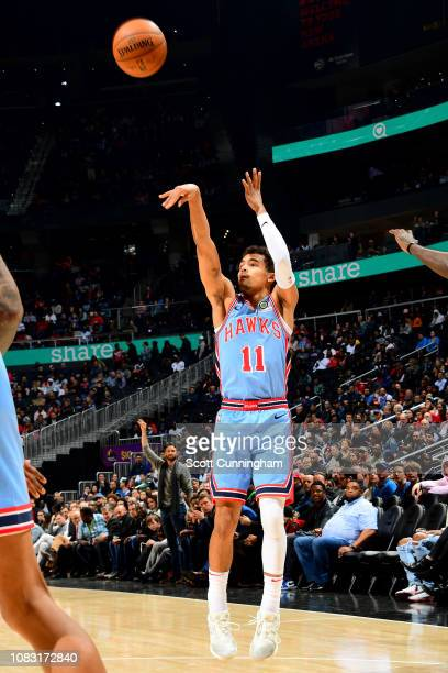 Trae Young of the Atlanta Hawks shoots the ball during the game against the Oklahoma City Thunder on January 15 2019 at State Farm Arena in Atlanta...