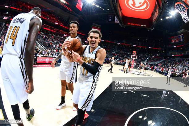 Trae Young of the Atlanta Hawks smiles after a game against the Phoenix Suns on February 23 2019 at State Farm Arena in Atlanta Georgia NOTE TO USER...