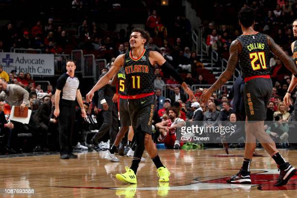 Trae Young of the Atlanta Hawks smiles against the Chicago Bulls on January 23 2019 at the United Center in Chicago Illinois NOTE TO USER User...