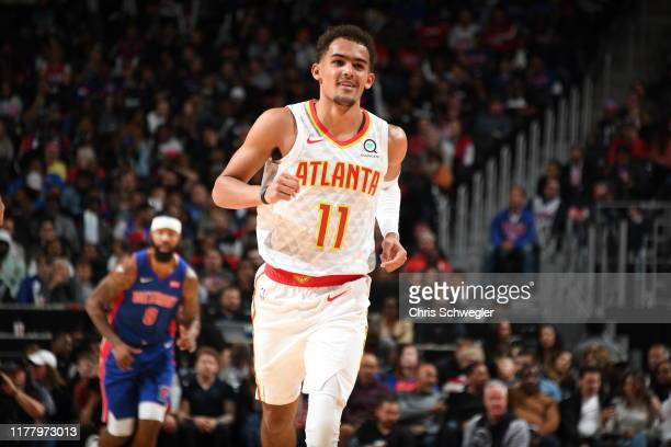 Trae Young of the Atlanta Hawks smiles against the Detroit Pistons on October 24 2019 at Little Caesars Arena in Detroit Michigan NOTE TO USER User...