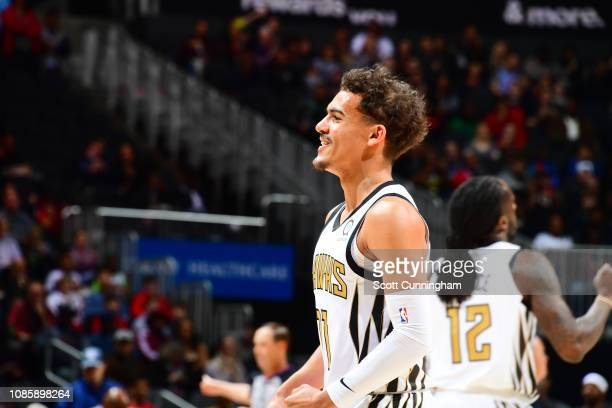 Trae Young of the Atlanta Hawks smiles against the Orlando Magic on January 21 2019 at State Farm Arena in Atlanta Georgia NOTE TO USER User...