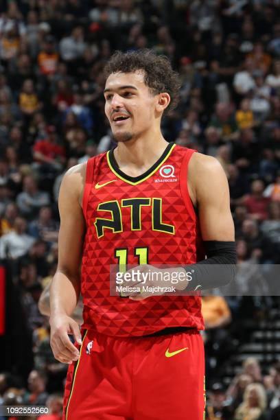 Trae Young of the Atlanta Hawks smiles during a game against the Utah Jazz on February 1 2019 at vivintSmartHome Arena in Salt Lake City Utah NOTE TO...