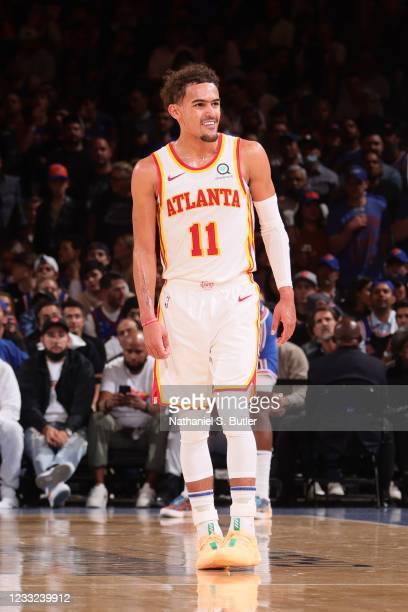 Trae Young of the Atlanta Hawks smiles during Round 1, Game 5 of the 2021 NBA Playoffs on June 2, 2021 at Madison Square Garden in New York City, New...