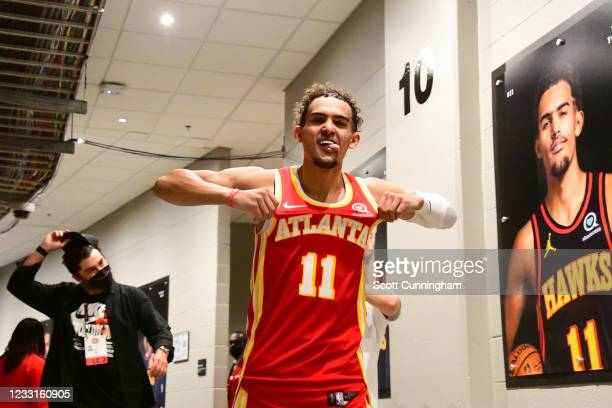 Trae Young of the Atlanta Hawks walks down the tunnel before the game against the New York Knicks during Round 1, Game 3 of the 2021 NBA Playoffs on...