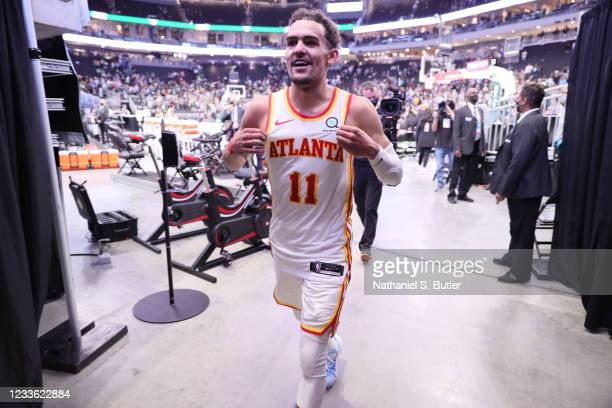 Trae Young of the Atlanta Hawks walks off the court after the game against the Milwaukee Bucks during Game 1 of the Eastern Conference Finals of the...