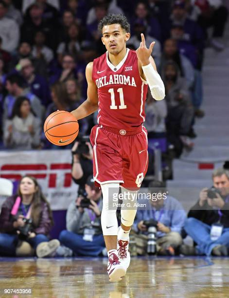Trae Young of the Oklahoma Sooners brings the ball up court against the Kansas State Wildcats during the first half on January 16 2018 at Bramlage...
