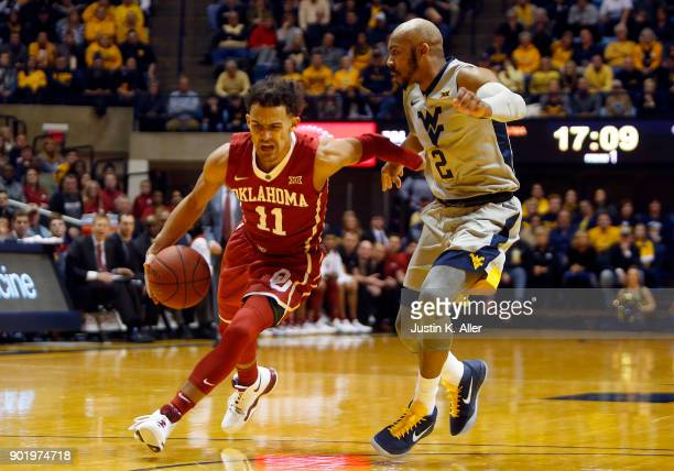 Trae Young of the Oklahoma Sooners drives against Jevon Carter of the West Virginia Mountaineers at the WVU Coliseum on January 6 2018 in Morgantown...