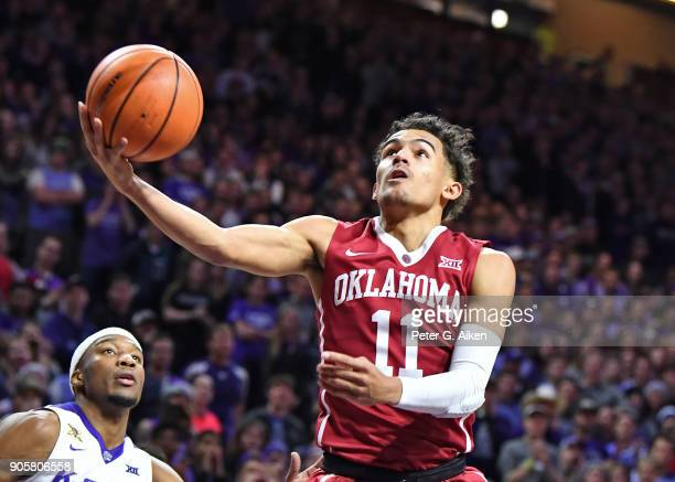 Trae Young of the Oklahoma Sooners drives to the basket against the Kansas State Wildcats during the first half on January 16 2018 at Bramlage...