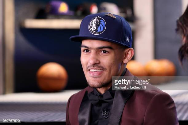 Trae Young talks to the media after being selected number five overall by the Dallas Mavericks on June 21 2018 at Barclays Center during the 2018 NBA...