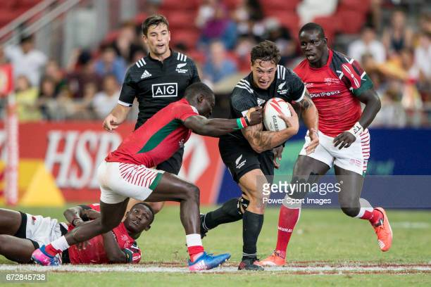 Trael Joass of New Zealand runs with the ball during the match New Zealand vs Kenya Day 2 of the HSBC Singapore Rugby Sevens as part of the World...