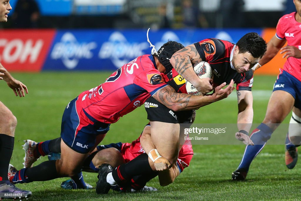 Trael Joss of Tasman is tackles Rob Thompson of Canterbury during the Mitre 10 Cup round one match between Tasman and Canterbury at Trafalgar Park on August 18, 2017 in Nelson, New Zealand.