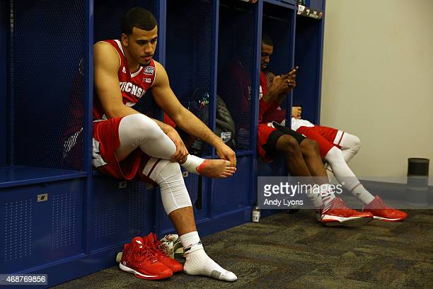 Traevon Jackson of the Wisconsin Badgers reacts in the locker room after being defeated by the Duke Blue Devils during the NCAA Men's Final Four...