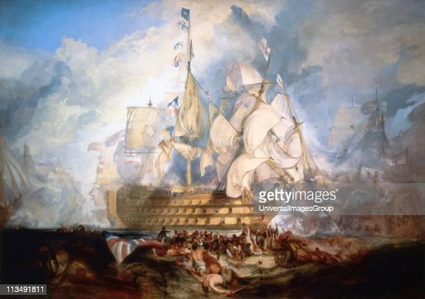 Trafalgar' painting by James Mallord William Turner Oil on canvas Battle of Trafalgar 21 October 1805 between British and FrancoSpanish fleets...