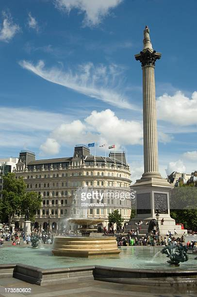 trafalgar - nelson's column stock photos and pictures