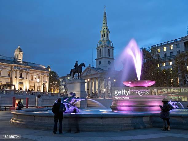 Trafalgar Square at dusk in London