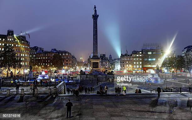 trafalgar square at night - anatoleya stock pictures, royalty-free photos & images