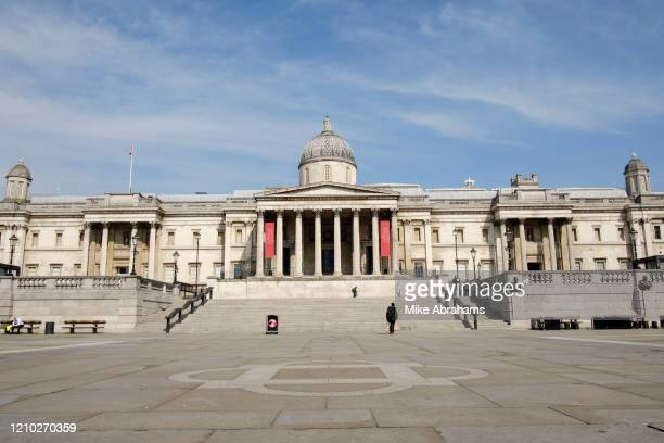 Trafalgar Square, at the heart of the West End is deserted due to lockdown as a result of the Coronavirus Pandemic on 16th April 2020 in London,...