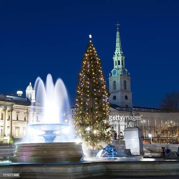 トラファルガー広場のクリスマスツリー、ロンドン - トラファルガー広場 ストックフォトと画像