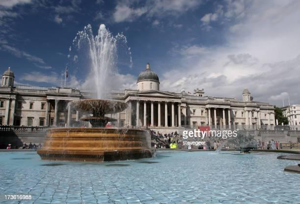 Trafalgar Square Fountain and National Gallery, London
