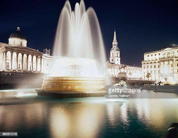 Trafalgar Square fountain at night, London, England