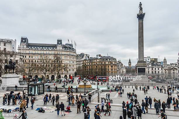 trafalgar square in london - admiral nelson stock photos and pictures