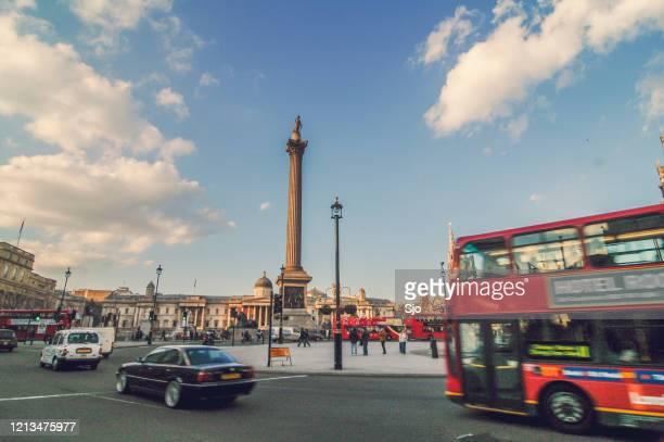 "trafalgar square in london uk during a beautiful autumn day - ""sjoerd van der wal"" or ""sjo"" stock pictures, royalty-free photos & images"