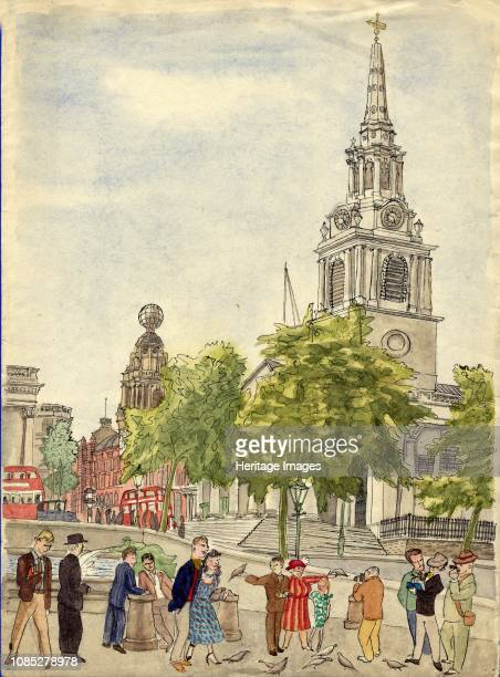 Trafalgar Square London 1948 Tourists and pigeons with the spire of St MartinintheFields and the Coliseum beyond Artist Shirley Markham