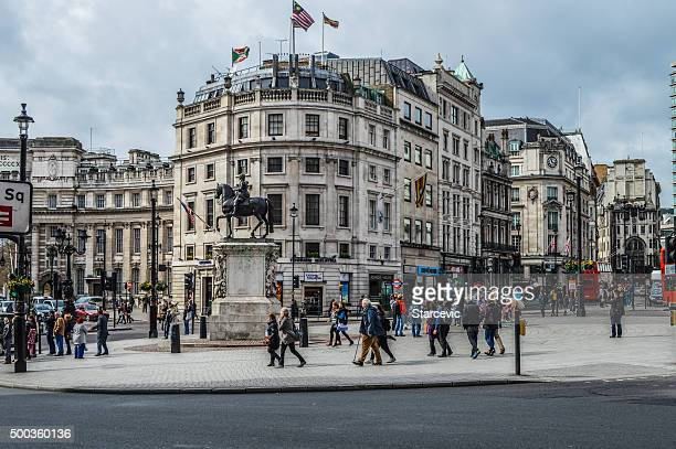 trafalgar square - london, uk - monument station london stock photos and pictures