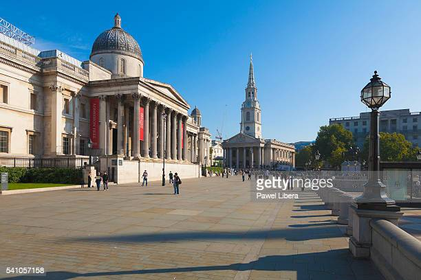 trafalgar square, london, uk - national gallery london stock pictures, royalty-free photos & images