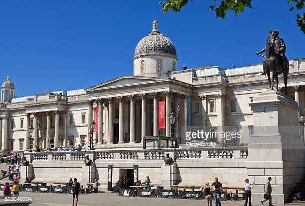 Trafalgar Square, National Gallery and King George IV Statue, London.