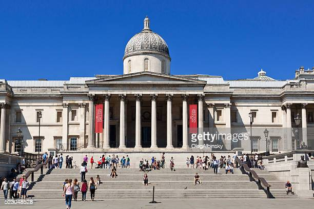 trafalgar square, national gallery and vivid blue sky, london, uk. - national gallery london stock pictures, royalty-free photos & images