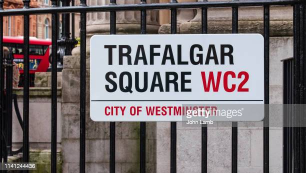trafalgar square street sign.close-up. - commercial real estate sign stock pictures, royalty-free photos & images