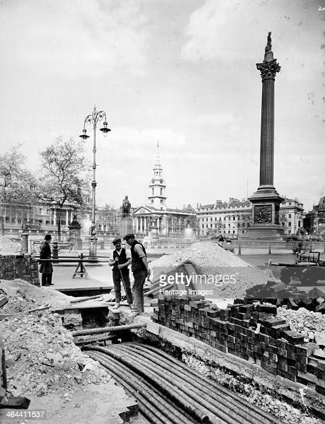 Trafalgar Square Westminster London 19301935 This is the southwest corner of Trafalgar Square with roadworks in the foreground The photograph was...