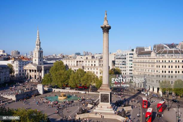 trafalgar square, whitehall, london, england - whitehall london stock photos and pictures