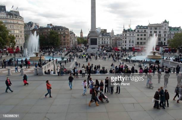 Trafalgar Square with Big Ben in background.