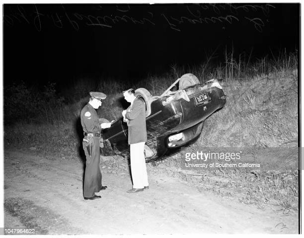 Traffic accident at Stocker and LaBrea April 19 1951 Francis G Calsbeek Officer JA Pattersonoverturned auto