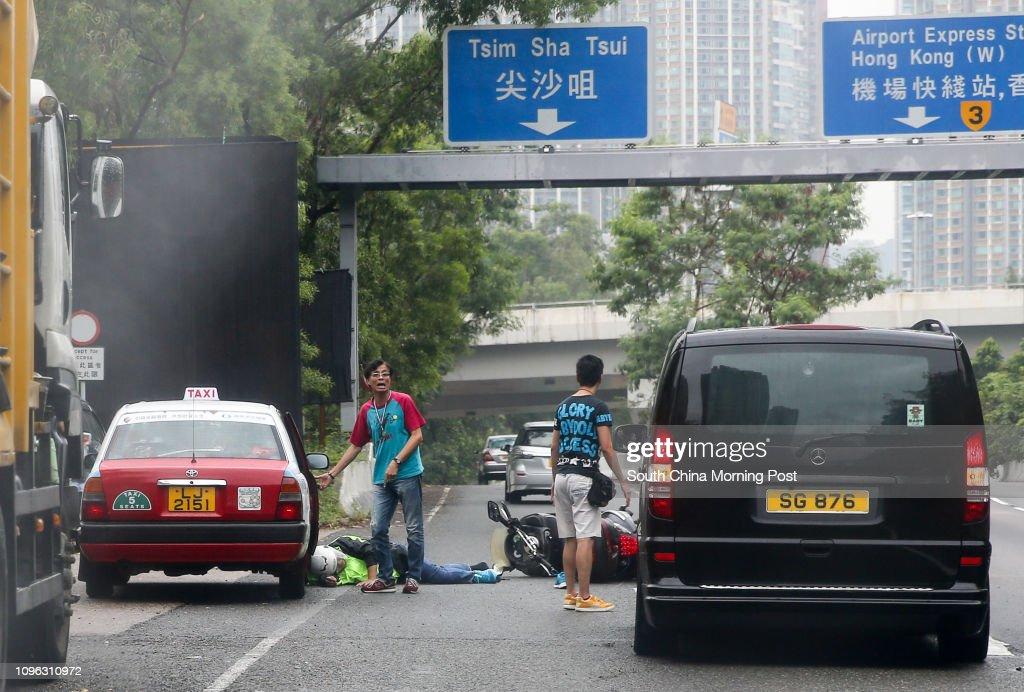 A traffic accident is seen at Route 3 near Tsim Sha Tsui