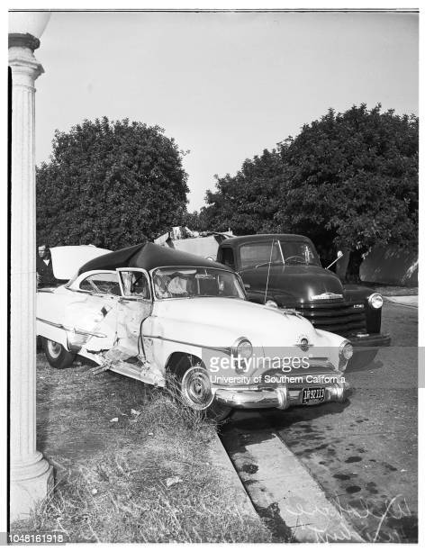 Traffic accident Wilshire Boulevard and Muirfield Road Los Angeles wife thrown from car 16 November 1951 Harry Eisman driver and husband of...
