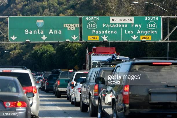 Traffic along Santa Ana road and Pasadena Freeway