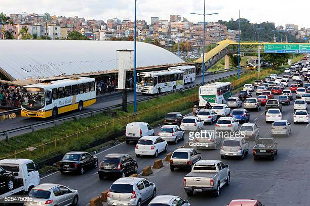 Traffic and bus station in Iguatemi Salvador