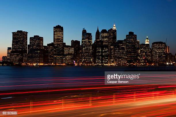 Traffic and cityscape at dusk, Manhattan, New York City, NY, USA