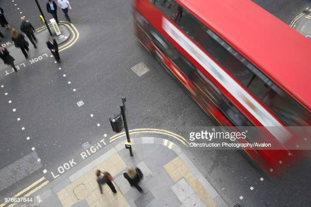 Traffic and Pedestrians, City of London, UK.
