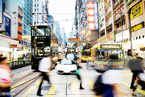 Traffic and pedestrians on Hennessy Road, Causeway Bay, Hong Kong