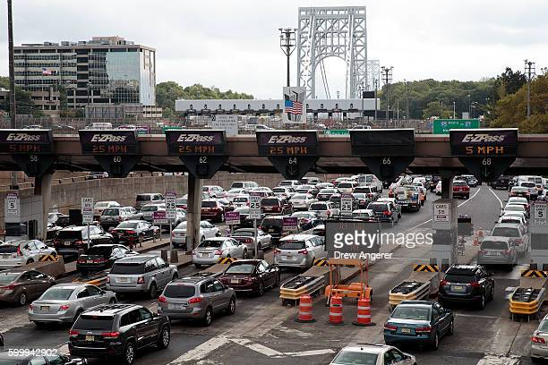 Traffic approaches the George Washington Bridge September 7 2016 in Fort Lee New Jersey Jury selection begins on Thursday for the New Jersey...