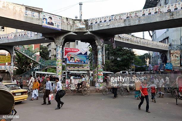 Traffic around an intersection Old Dhaka Bangladesh