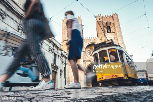 traffic around lisbon cathedral - portugal stock pictures, royalty-free photos & images