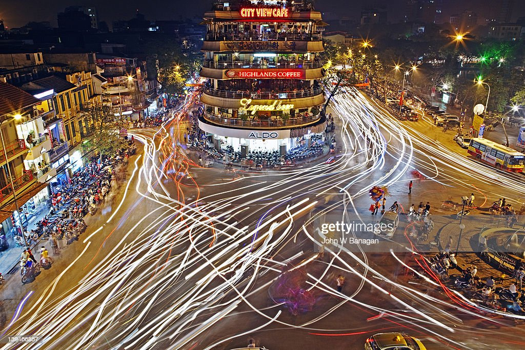 Long exposure of traffic, Hoan Kiem Lake, Central Hanoi, Vietnam.