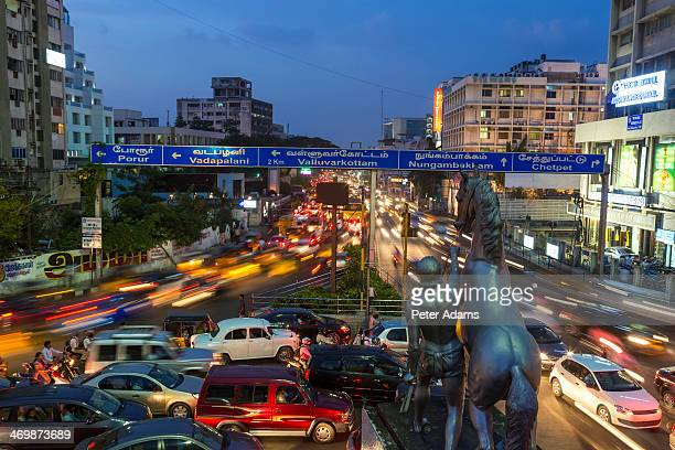traffic at dusk, central chennai, (madras) - chennai stock pictures, royalty-free photos & images